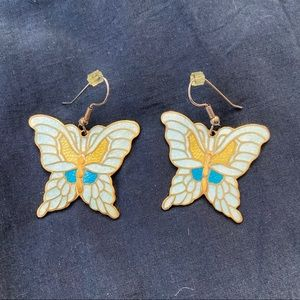 Metal & Enamel Butterfly Earrings